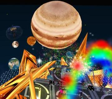 The setting - planets, stars, bubbles, lights, rainbows