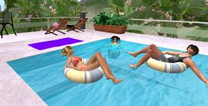 jonah, Oura and Ahuva in the pool