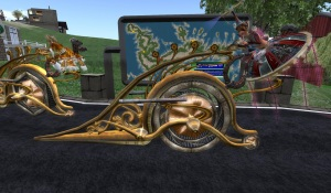 oura and ahuva on their steampunk giro-cycles