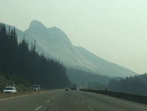 Mountain shrouded in forest fire haze BC