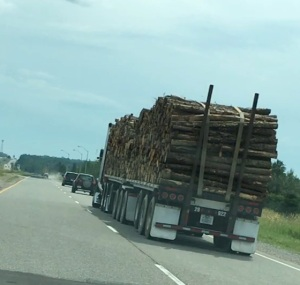 truck carrying lumber