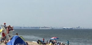 view of NY and ships