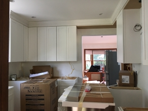 kitchen with soffit and crown molding