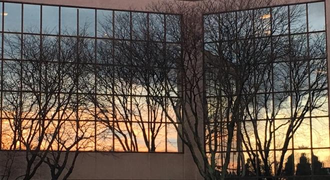 office windows at sunset