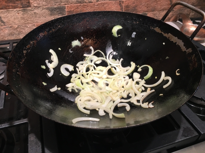 Step 1 saute onions in coconut oil
