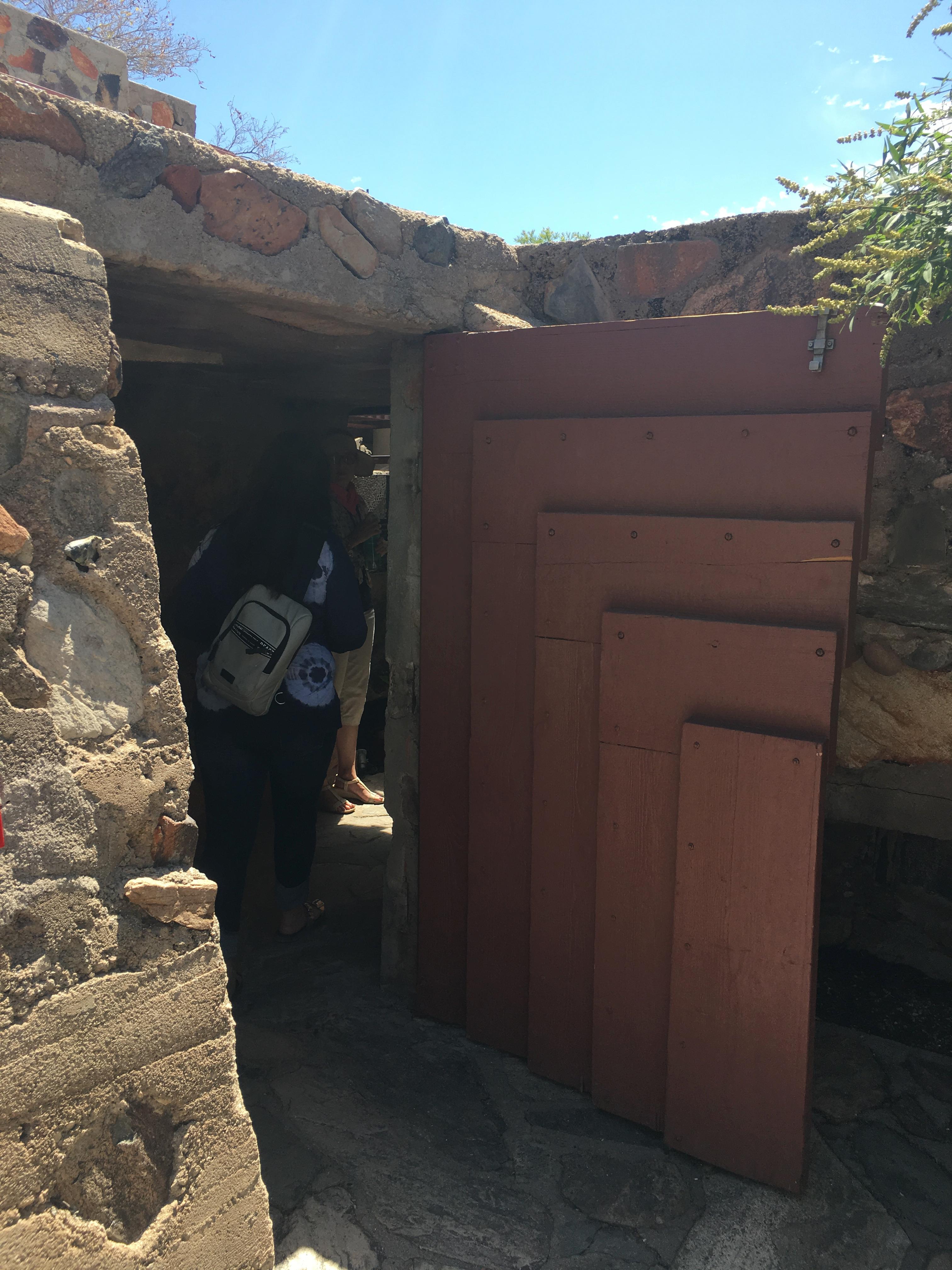 Doorway into living quarters