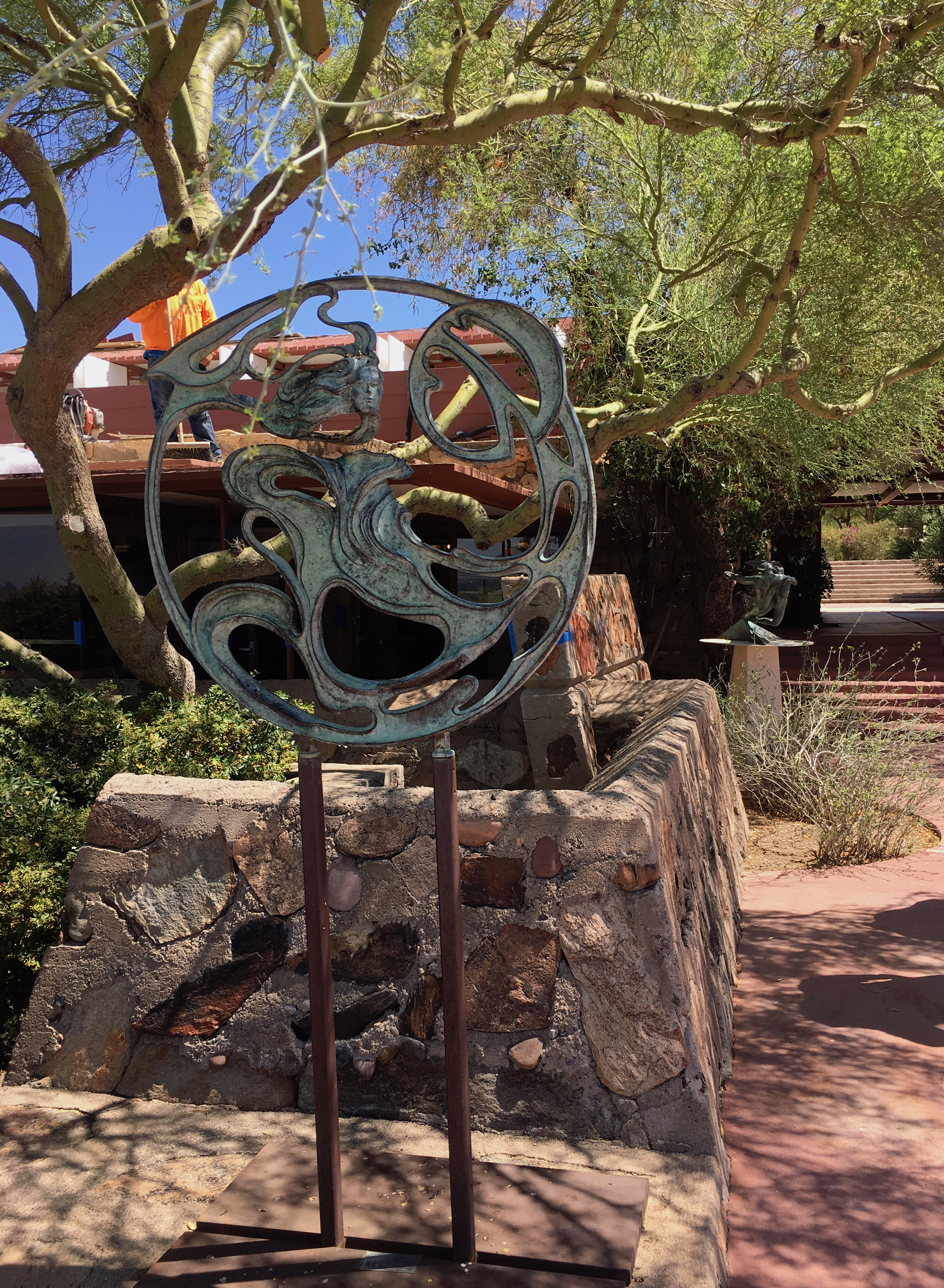 Sculpture in courtyard at TW