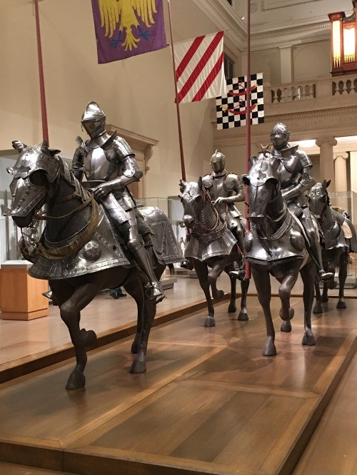 mounted knights in armor