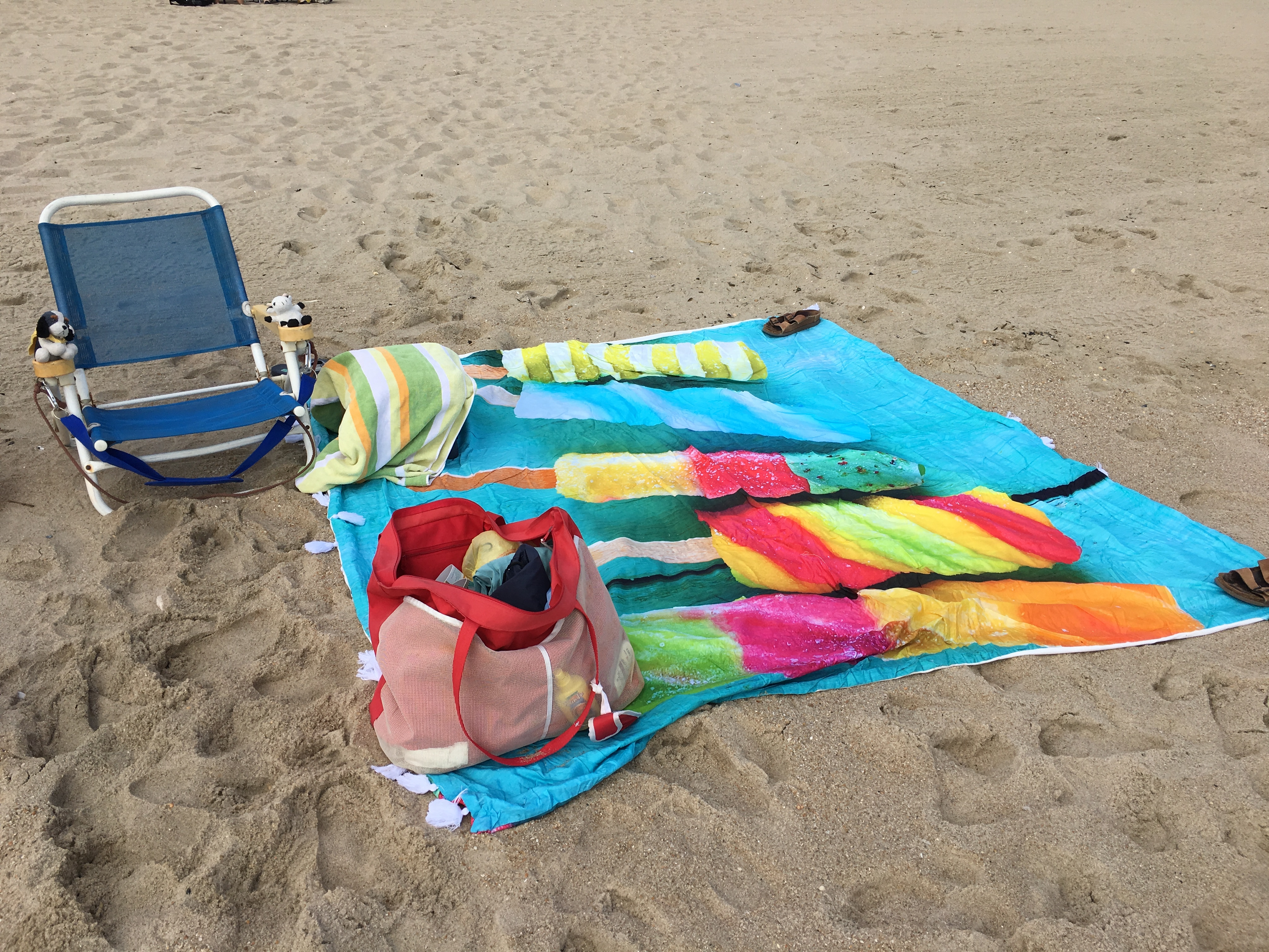 New beach blanket, traditional red bag