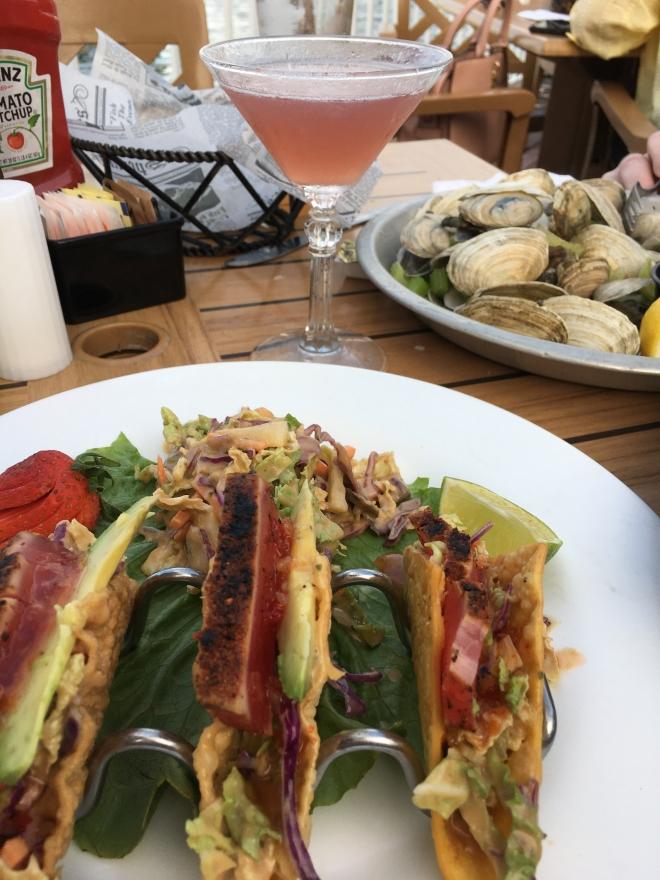 Fish tacos and martini