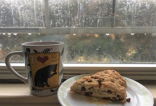 beating a rainy day with coffee and scones