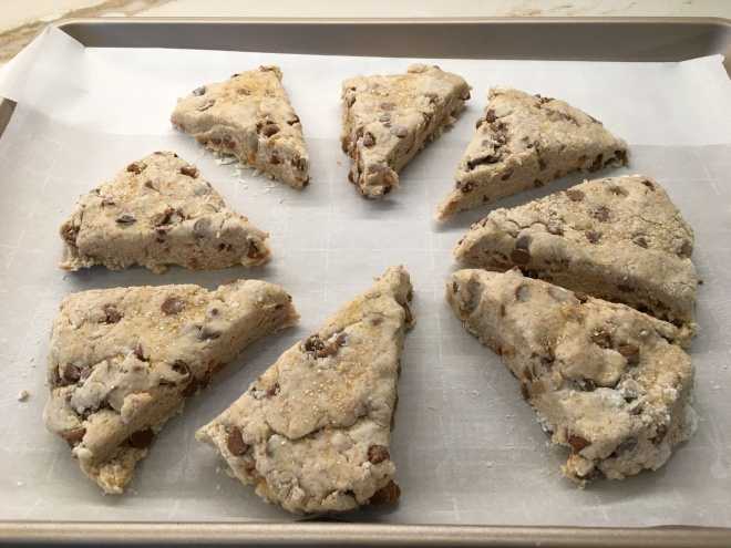 cinnamon scones with raw sugar sprinkled on top